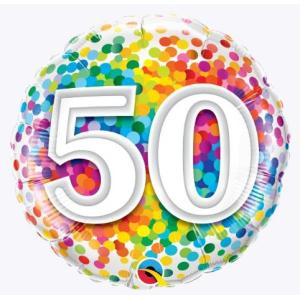 Rainbow Confetti 50th Birthday 18 inch foil balloon