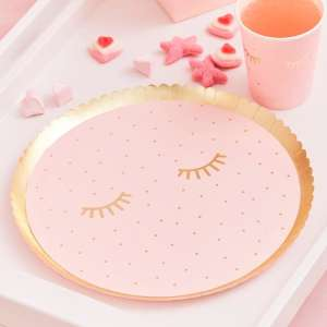 Pamper Party Pink Eye Mask Shaped Paper Plates (8)
