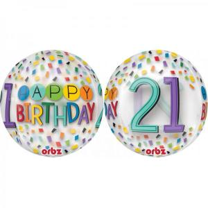 Happy 21st Birthday Rainbow Confetti Orb Balloon
