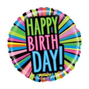Neon lights Happy Birthday Balloon 21 inch
