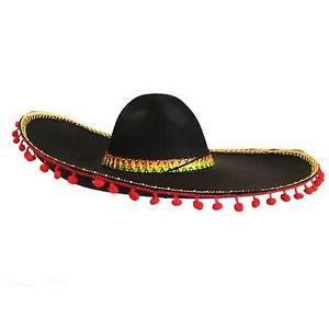 Spanish Sombrero 55cm Red Pom Poms