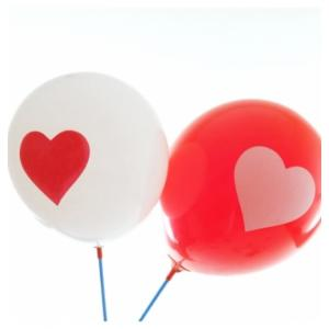 Red and White Heart Latex Balloons (10)