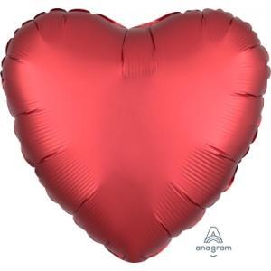 Sangria Satin Luxe Heart Foil Balloon 18 inch