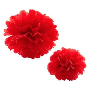 Red Tissue Paper Pom Pom (20cm)