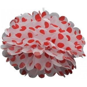 Red Dotted Tissue Paper Pom Pom (30cm)