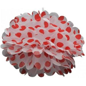 Red Dotted Tissue Paper Pom Pom (20cm)