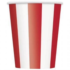 Red Striped Paper Cups (6)
