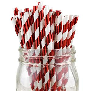 Red Metallic Party Straws (25)