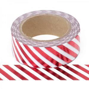 Red Foil Diagonal Stripe Washi Tape