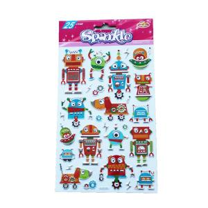 Funky Robot Sparkle Embossed Stickers