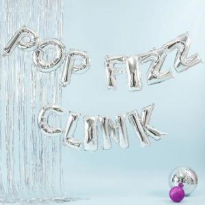 Pop Fizz Clink Silver Foil Balloon Bunting Kit