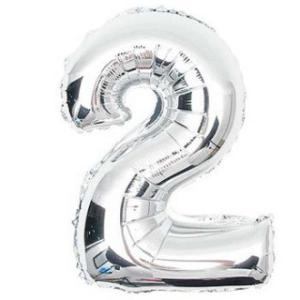 Silver Metallic Foil Balloon Number 2