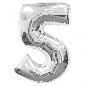 Silver Metallic Foil Balloon Number 5