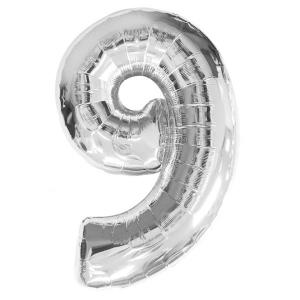 Silver Metallic Foil Balloon Number 9