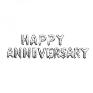 Happy Anniversary Silver Foil Letter Balloons 18 inch