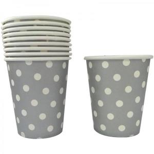 Silver Dotted Paper Cups (10)