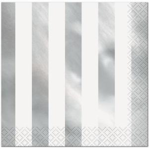 Silver Foil Striped Lunch Napkins (16)
