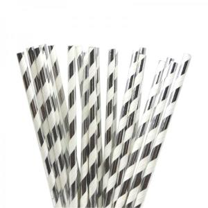 Metallic Silver Party Straws (25)