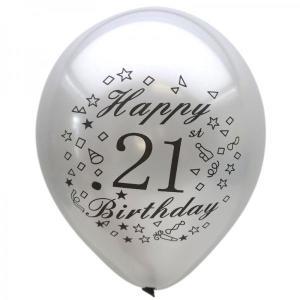 Silver Happy 21st Birthday Balloons (15)