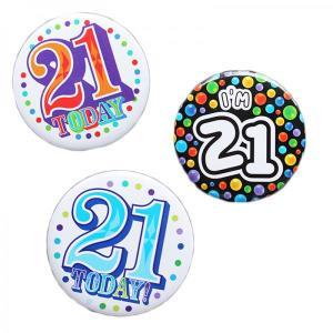 Happy 21st Birthday Badge Blue Design