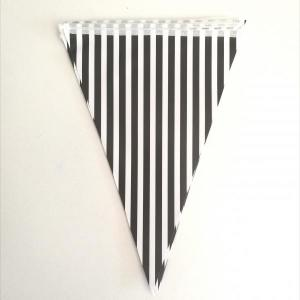 Black Striped Paper Flag Bunting