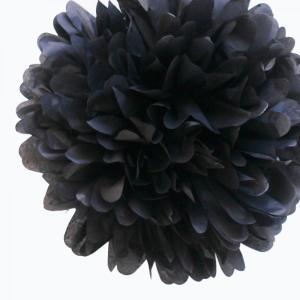 Black Tissue Paper Pom Pom (20cm)