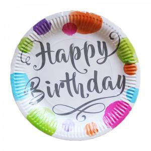 Birthday Colourful Spots Paper Plates Large (6)