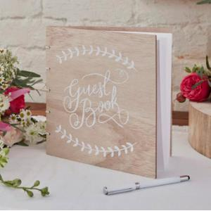 Floral Boho Wooden Guest Book