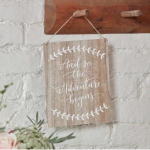 Floral Boho And so the adventure begins Wooden sign