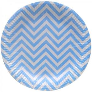 Light Blue Chevron Paper Plates (10)