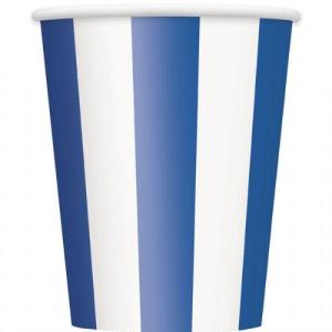 Royal Blue Striped Paper Cups (6)