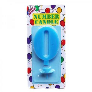 Blue Number Candle 0