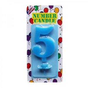 Blue Number Candle 5