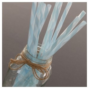 Light Blue Striped Frosted Plastic Party Straws (10)