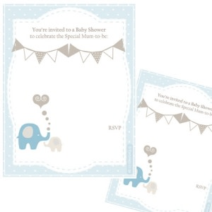 Elephant Baby Shower - Invitations (Pack of 8)
