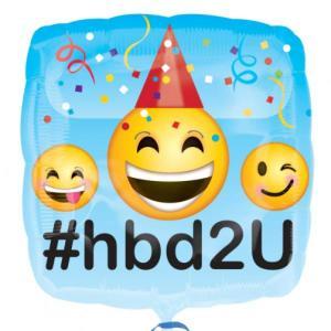 Emoji #hbd2u Square balloon 18inch