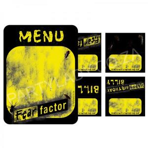 Fear Factor Party - Tent Cards (8) and Menu (1)