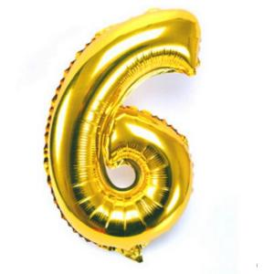Gold Metallic Foil Balloon Number 6
