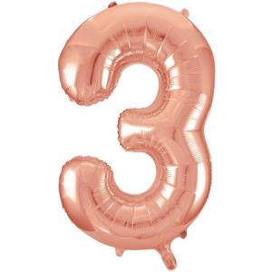Rose Gold Metallic Foil Balloon Number 3 (32cm)