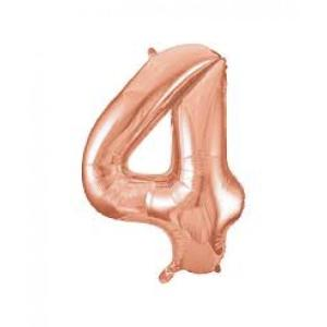 Rose Gold Metallic Foil Balloon Number 4 (32cm)