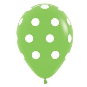Lime Green Dotted Balloons (5)