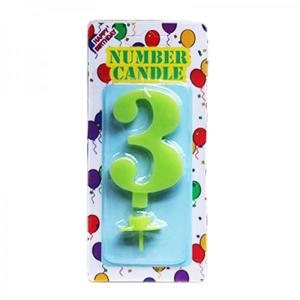 Green Number Candle 3