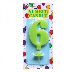 Green Number Candle 6