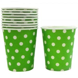 Lime Green Dotted Paper Cups (10)