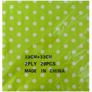 Lime Green Dotted Serviettes (20)