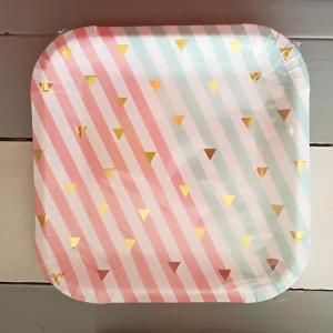 Mint Green and Coral Square Paper plates with gold triangles - Large