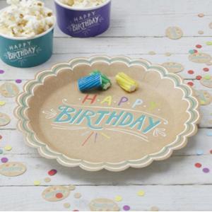 Happy Birthday - Kraft Plates (8)