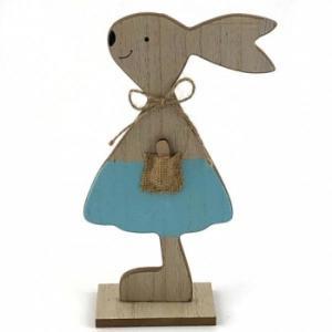 Blue Standing Wooden Bunny