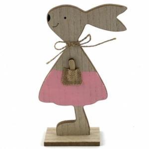 Pink Wooden Standing Bunny