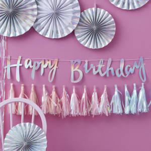 Iridescent Party Happy Birthday Backdrop